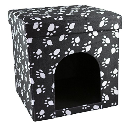 (LOVE2PET 39520 Cat Paw Palace Foldable/Portable Kennel, Charcoal with White Paw Prints)
