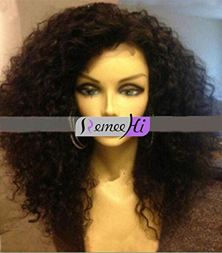 Remeehi Spanish Curly Wave Indian Remy Human Hair Lace Front Wig with 160% Density 20 Inch Natural Color (Spanish Wave)