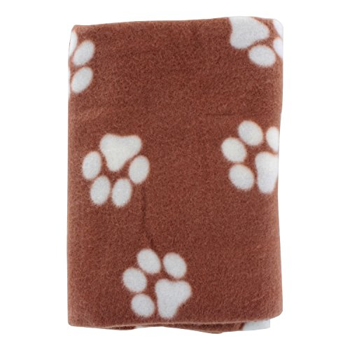 Paw Print Pet Ultra-Soft Fleece Blanket, 39 in x 27 in, Brow