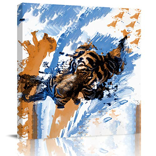 Square Canvas Wall Art Oil Painting for Bedroom Living Room Home Collection,3D Tiger Face Watercolour Animal Design Artworks for Wall Decor,Stretched by Wooden Frame,Ready to Hang,20 x 20 Inch]()