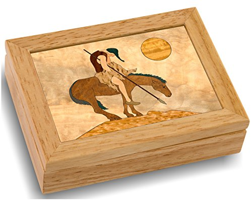 Indian Native Inlay American (MarqART Native American Wood Art Trinket Jewelry Box & Gift - Handmade USA - Unmatched Quality - Unique, No Two are The Same - Original Work of Wood Art (#4112 End of Trail 4x5x1.5))
