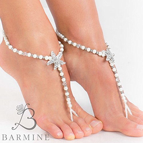 a7d49af3f Amazon.com  Rhinestone Starfish and Pearl Beaded barefoot sandals Bridal  foot jewelry Beach wedding Barefoot Sandals Bridal shoes Wedding accessory   ...