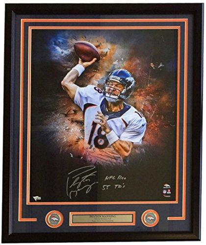 Peyton Manning Signed Framed 20x24 Denver Broncos Photo NFL Rec 55 TDs Inscribed Fanatics ()