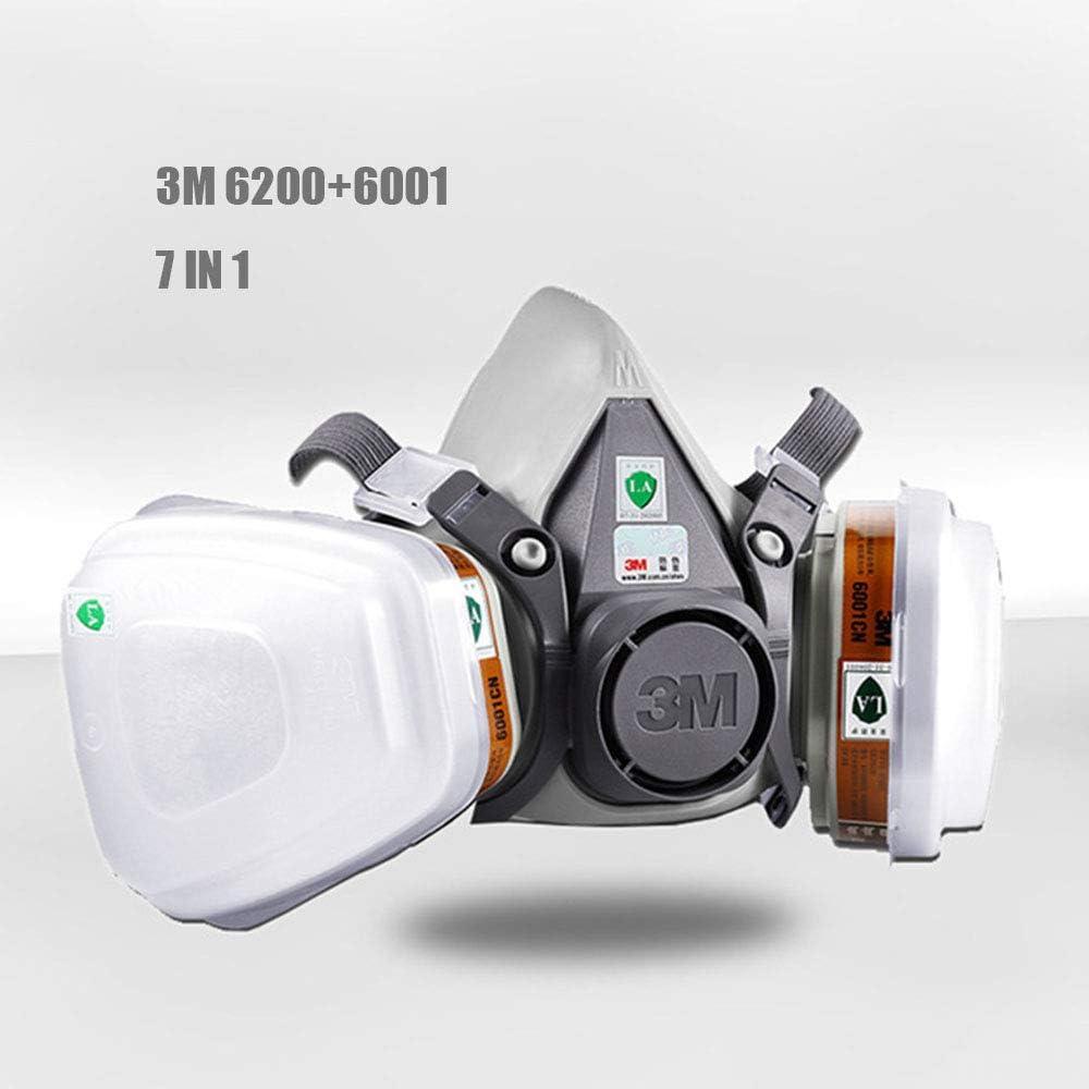 Respiratoria Semimáscara Con Doble Filtro, Máscara De Gas Reutilizable/Máscara Sin Mantenimiento Para Pintura En Aerosol, Polvo, Lijado A Máquina, Formaldehído, Protección Con Filtros