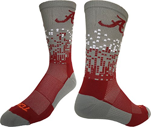 Alabama Crimson Tide Downtown Crew Socks (Grey/Crimson/White, - Crimson Tide Alabama Baseball Bama