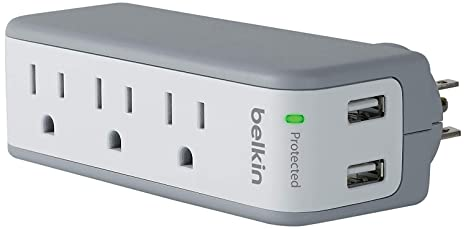 Belkin 3-Outlet USB Surge Protector w/Rotating Plug– Ideal for Mobile Devices, Personal Electronics, Small Appliances and More (1 Amp, 918 Joules)