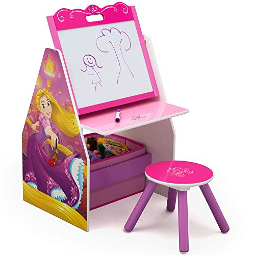 Delta Children Activity Center with Easel Desk, Stool and Toy Organizer, Disney Princess (Bedroom Storage Chairs)