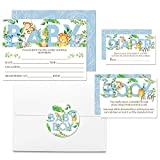 "Deluxe Watercolor Jungle Animals Baby Shower Party Bundle for Boys, Includes 20 each of 5''x7'' Fill In Invitations, Diaper Raffle Tickets, Bring a Book Cards & 2"" Thank You Favor Stickers w/ Envelopes"