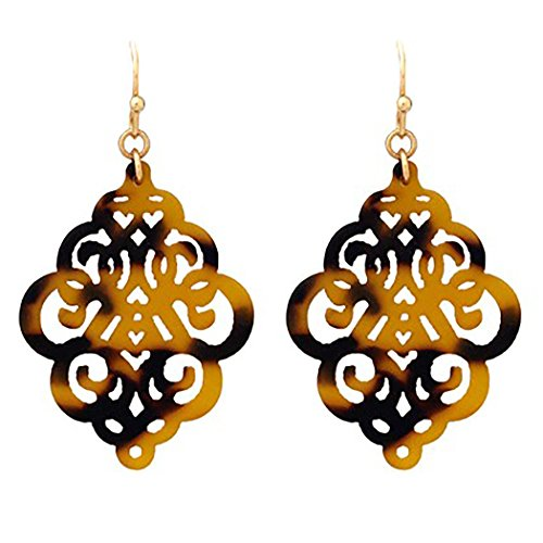 Rosemarie Collections Women's Tortoise Shell Celluloid Moroccan Style Dangle Earrings