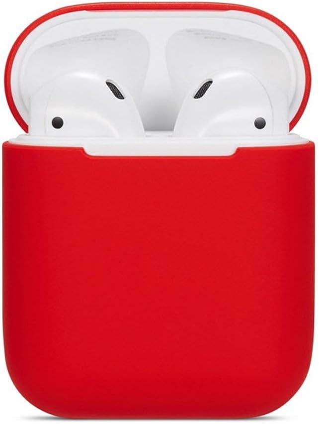 Funnyrunstore Airpods One and Two Generations Funda de Silicona Universal Auriculares inalámbricos Caja de protección para Auriculares Resistente al Agua roja