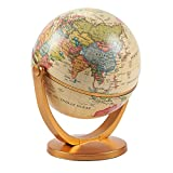 World Globe – 4-inch Globe of The World with Stand, Spinning Rotating Globe for Kids, Geography Teachers, Parents as Home, Office Desktop Decoration, Educational Tool, Yellow, 5 inches Tall