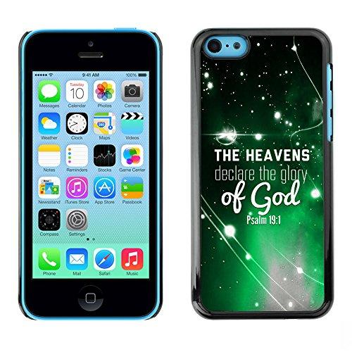 DREAMCASE Citation de Bible Coque de Protection Image Rigide Etui solide Housse T¨¦l¨¦phone Case Pour APPLE IPHONE 5C - THE HEAVENS DECLARE THE GLORY OF GOD - PSALM 19:1
