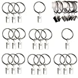 Qiorange 20Pcs Curtain Rings Clips, Metal Drapery Cloth Pegs with Ring Pincer Clip Curtain Rod Rings Drapery Clips (Silver 20Pcs)