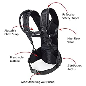 Hydration Backpack with 2 Liter Water Bladder – For Running, Cycling, Hiking, and Climbing – Large Storage Spaces – Light Weight – Adjustable Chest Strap – FREE Towel Included