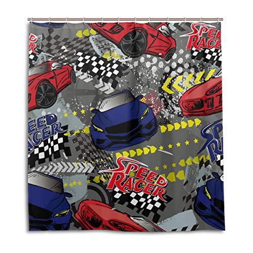 Speed Racer Car Shower Curtain for Bathroom 66 x 72 inches Waterproof Bath Curtain with 12 Hooks Home Decor Polyester Fabric