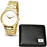 Wallet & Watch Set Our Father Prayer Alloy Face 18K Gold Plated Stainless Steel Watch
