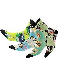J'colour Unisex Men's Fashion Colorful Bamboo Animal Print Mid Calf Socks