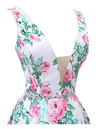 Cristal Jiang Robe De Soirée Femmes Taille Imprimé Floral V-cou Satin Pailleté Courte Robe De Cocktail