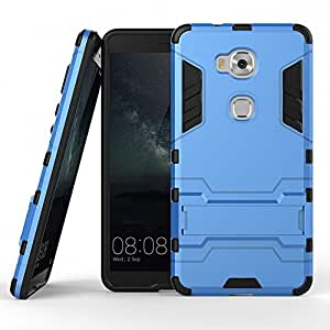 DWay Honor 5X Cover Hybrid Armor Design with Stand Feature 2 In 1 Combo Dual Layer Detachable Protective Shell Phone Hard Back Case Cover for Huawei Honor 5X 5.5inches (Light Blue)