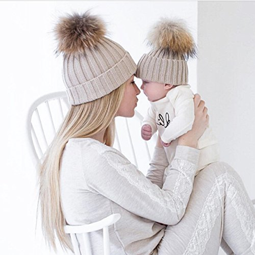 2PCS Parent-child Hat Warmer ,Oenbopo Mother & Baby Daughter/Son Winter Warm Knit Hat Family Crochet Beanie Ski Cap