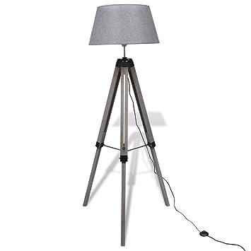 vidaXL Stativ-Stehlampe Design Stativlampe Leselampe Stehlampe Holz ...