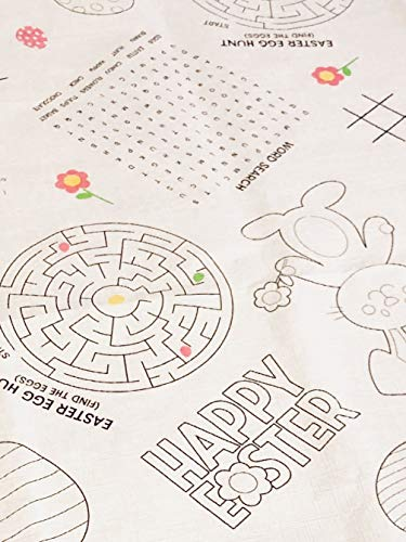 Easter Activity Table Cover for Coloring and Games, Disposable Tablecloth Ready for Fun, 54