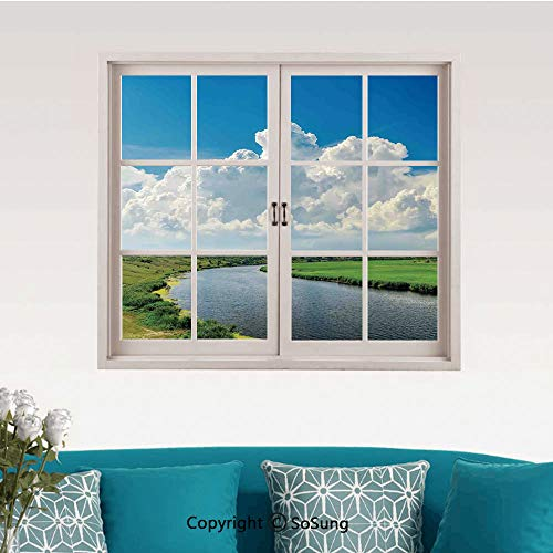 Lake House Decor Removable Wall Sticker/Wall Mural,Clouds Over Moving River Landscape with Lush Meadows Grass Clear Sky Daytime Creative Close Window View Wall Decor,24