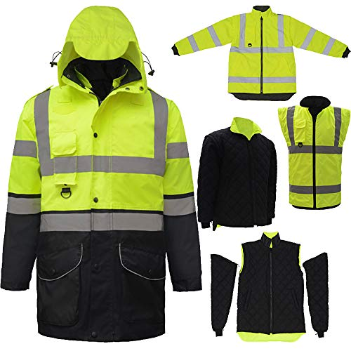 (ANSI Hi Vis Two Tone Yellow Black Waterproof Thermal 7 in 1 Safety Parka Jacket Winter Coat Reflective Workwear (XXL, Yellow Black))