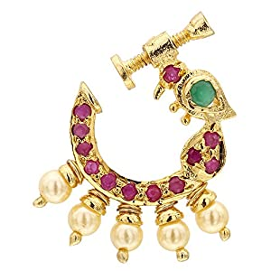 Sasitends Present Peacock Design Non-Piercing Screw Press Nose Pin For Women And Girls