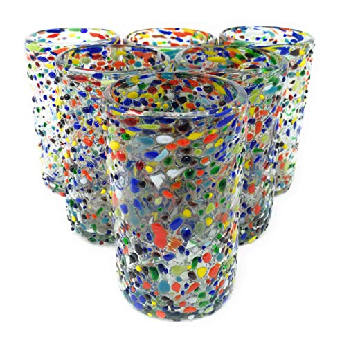 - Hand Blown Mexican Drinking Glasses - Set of 6 Confetti Rock Design Glasses (14 oz each)