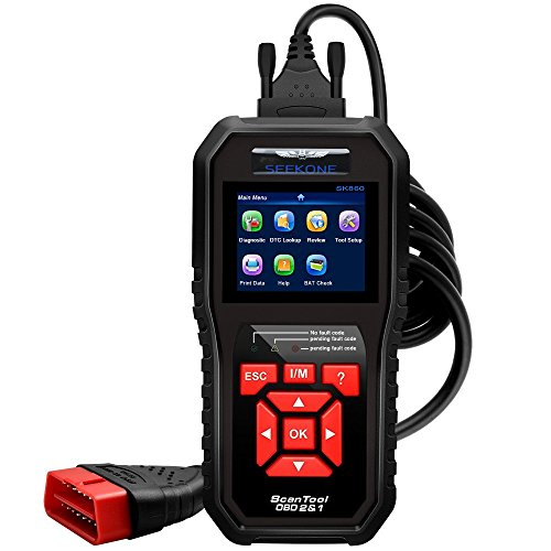 OBDII Auto Diagnostic Code Scanner,SEEKONE SK860 Universal Vehicle Engine O2 Sensor Systems Scanner OBD2 EOBD Scanners Tool Check Engine Light Code Reader for all OBD II Protocol Cars Since 1996