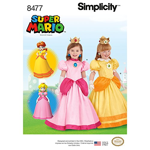 Simplicity Girl's Nintendo Super Mario Princess Peach and Princess Daisy Costume Sewing Patterns, Sizes 3-8 -