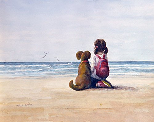 riend Art print of Watercolor Painting - Child, Pet, Girl's Room, Friendship, childhood, Companion, Beach ()