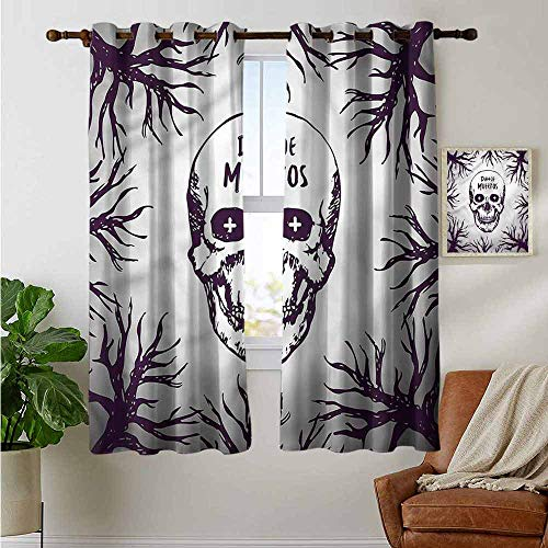 petpany Blackout Curtains 2 Panels Mexican,Spooky Gothic Halloween,for Room Darkening Panels for Living Room, Bedroom -