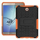 DWay Tablet Case Samsung Tab S2 8.0 T710 Hybrid Armor Design with Stand Feature Detachable Dual Layer Protective Shell Hard Back Case Cover for Samsung Galaxy Tab S2 8.0inches Tablet T710 (Orange)