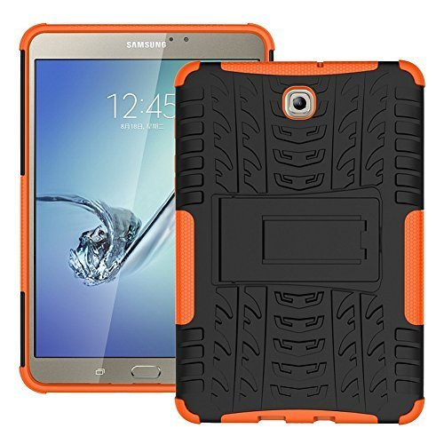 DWay Tablet Case Tab S2 8.0 T710 Hybrid Armor Design with Stand Feature Detachable Dual Layer Protective Shell Hard Back Case Cover for Samsung Galaxy Tab S2 8.0inches SM-T710 / T715 (Orange)