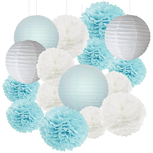 Furuix Baby Shower Decorations for Boy 18 pcs White Baby Blue Tissue Pom Pom Flower and Paper Lanterns First Birthday Party Decorations Frozen Baby Shower Party Decoration Set for Boy by Furuix