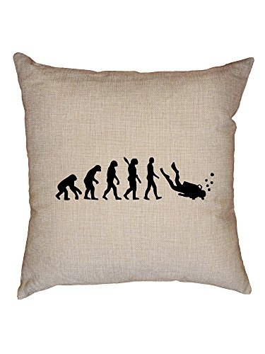 (Hollywood Thread Evolution of Man Scuba Diver Diving Hilarious Decorative Linen Throw Cushion Pillow Case with Insert)