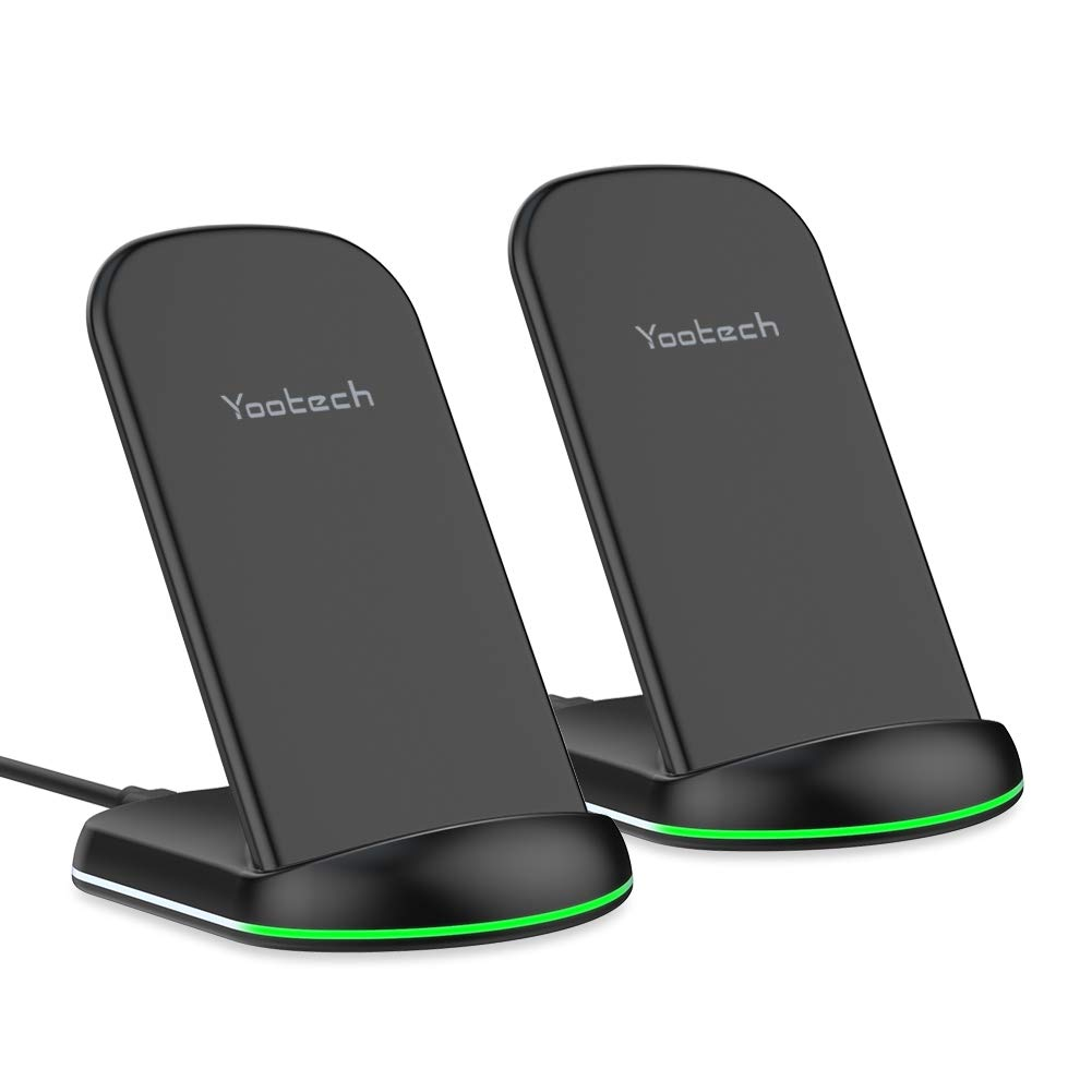 Yootech Wireless Charger,[2 Pack] 10W Qi-Certified Wireless Charging Stand, 7.5W Compatible with iPhone Xs MAX/XR/XS/X/8/8 Plus, 10W for Galaxy Note 10/Note 10 Plus/S10/S10 Plus/S10E(No AC Adapter) by yootech