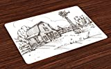 country kitchen table ideas Ambesonne Windmill Place Mats Set of 4, Rustic Barn Farmhouse Hand Drawn Illustration Countryside Rural Meadow, Washable Fabric Placemats for Dining Room Kitchen Table Decor, Dark Brown and White