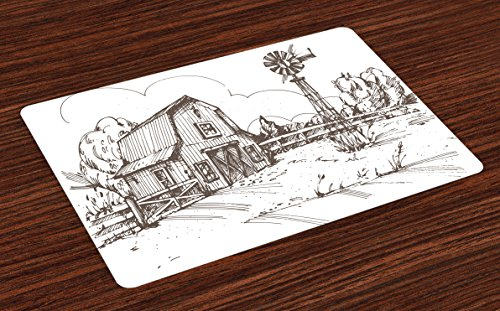 Ambesonne Windmill Place Mats Set of 4, Rustic Barn Farmhouse Hand Drawn Illustration Countryside Rural Meadow, Washable Fabric Placemats for Dining Room Kitchen Table Decor, Dark Brown and White