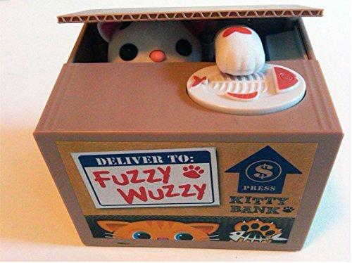 Fuzzy Wuzzy Kitty Mechanical Bank - Yellow