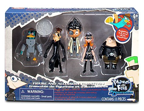 Disney Phineas Ferb Exclusive Across The 2nd Dimension Figurine Set #1 Platyborg, Alt Universe Dr. Doof, Buford Van Stomm, Karl the Intern Candace - Dr Buford
