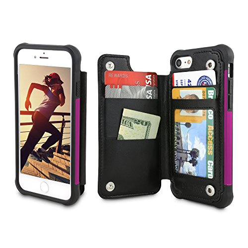 Gear Beast iPhone 7 / 8 Wallet Case, Top View Flip Folio Case For iPhone 7/8 Slim PU Leather Cover 4 Slot Card Holder Including ID Holder Plus Cash Slot and Military Grade Protective Bumper Case