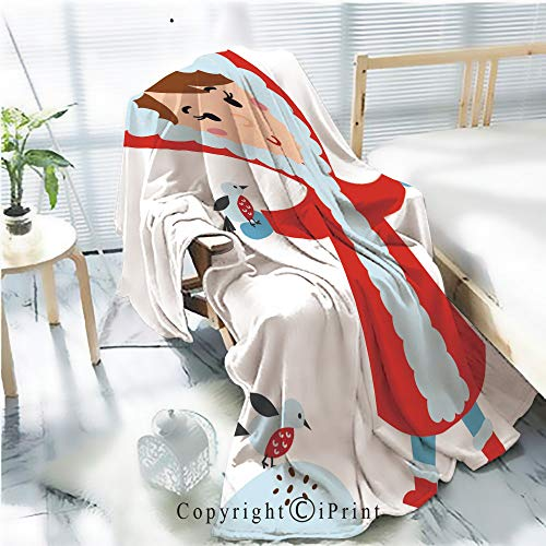 AngelSept Printed Throw Blanket Smooth and Soft Blanket,Cute Girl in red Jacket Makes Snow Bird Vector for Sofa Chair Bed Office Travelling Camping,Kid Baby,W31.5 x H47.2