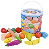 Safe&Care Kitchen Toys Wooden Pretend Play Food Set for Kids Cutting Fruits/Vegetables 13 Pieces- Child Development Toys & Kids Pretend Kitchen Playset Toy for Toddlers in a Portable Storage Bucket