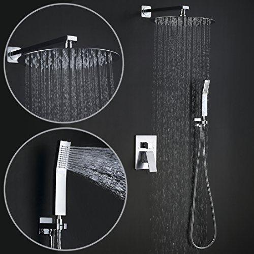 Luxury Combo Set - Charmingwater 12in Rain Shower System, Luxury Rain Mixer Shower Combo Set, Rainfall Shower Head System with Handheld, Drip-Free Design, NPT 1/2