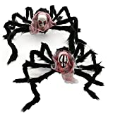 SMARTitns Halloween Large Giant Scary Spider Skeleton Decorations Outdoor - 20'' Huge Black Spider, Realistic Fake Hairy Spider Props Decor for Halloween Party Yard, 2 Pack