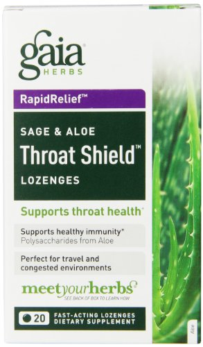 Gaia Herbs RapidRelief Sage & Aloe Throat Shield Lozenges, 20 Count (Pack of 2) (Shield Throat Lozenges)