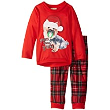 Komar Kids Little Girls' Plaid Holiday Puppy BMJ 2 Piece Set